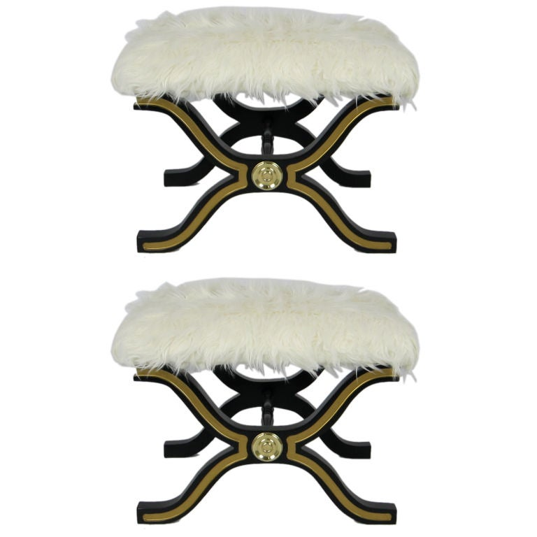 Pair of Dorothy Draper Espana Stools with Tibetan Wool Seats