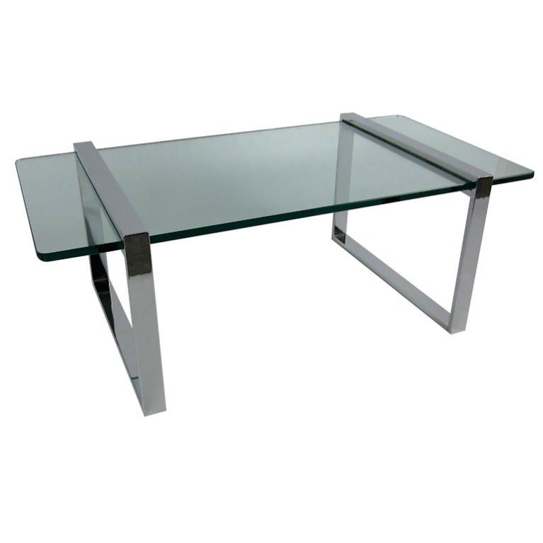 Modernist Chrome Trestle Coffee Table At 1stdibs