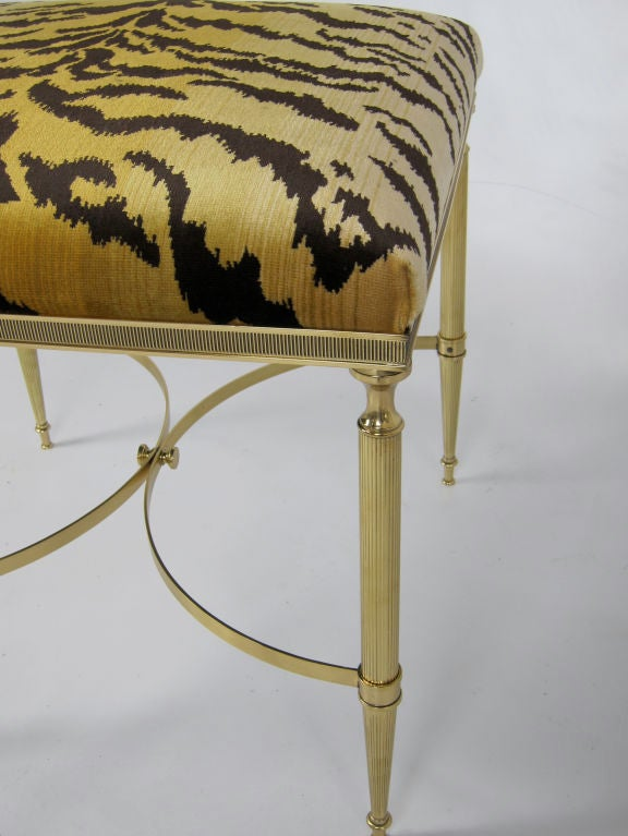 Regency Revival Italian Brass Stool with Scalamandre Le Tigre Upholstery For Sale