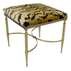 Italian Brass Stool with Scalamandre Le Tigre Upholstery