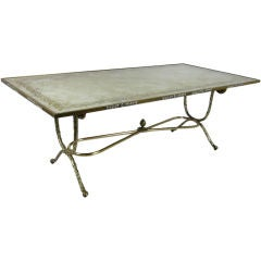 Bagues Bronze Library Table with Verre Eglomise Top