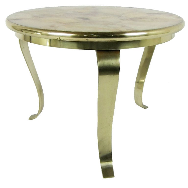Bronze Side Table with Onyx Top by Muller
