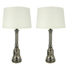 Pair of Mercury Glass Column Form Table Lamps