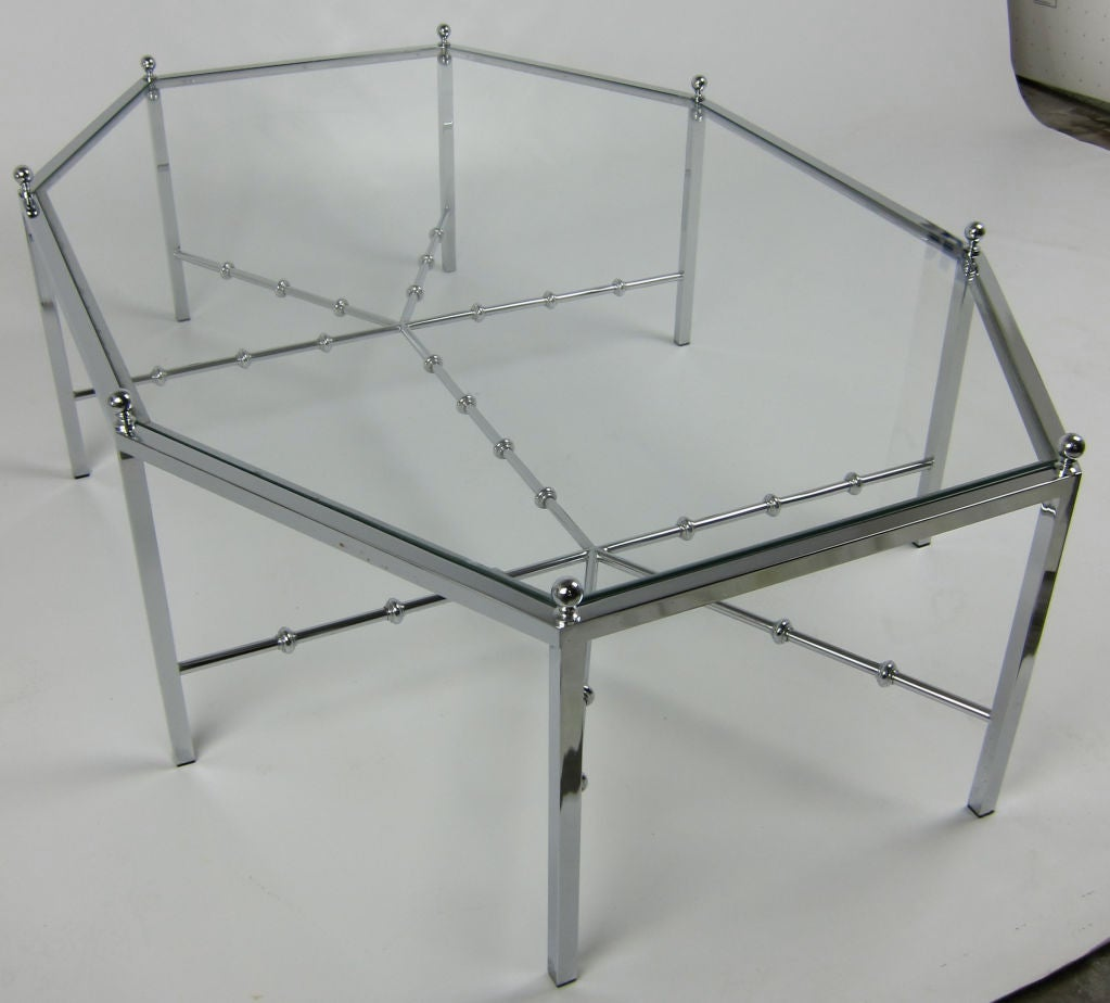 Modern Neo-Regency Chrome Cocktail Table For Sale