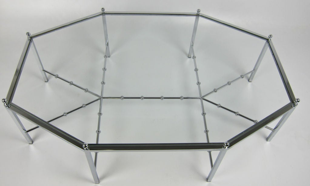 American Neo-Regency Chrome Cocktail Table For Sale