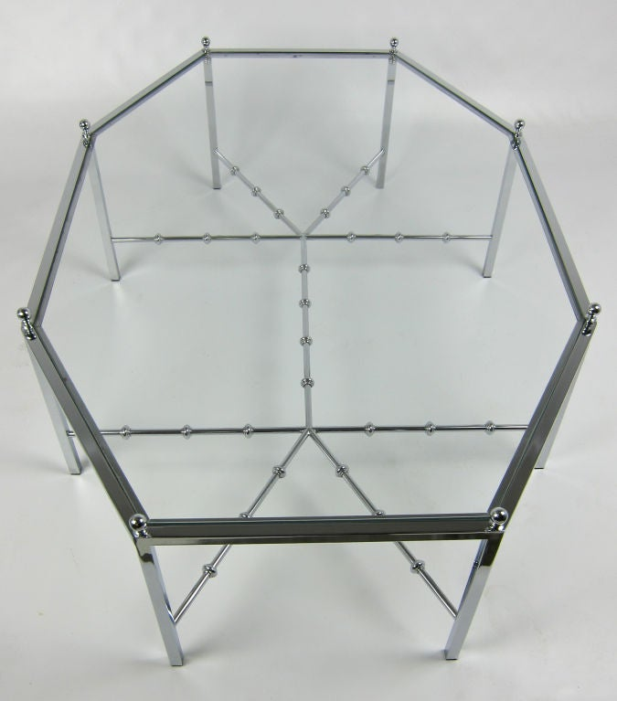 Neo-Regency Chrome Cocktail Table In Excellent Condition For Sale In San Leandro, CA
