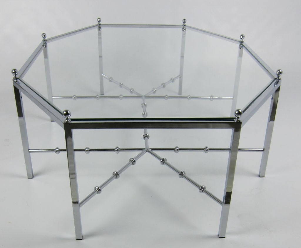 Late 20th Century Neo-Regency Chrome Cocktail Table For Sale