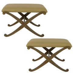 Pair of X-Base Benches by Palladio, Italy