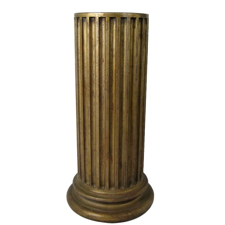 Large Scale Gilt Doric Column Pedestal
