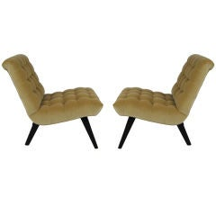 Pair of Tufted Velvet Scoop Chairs by Jens Risom for Knoll