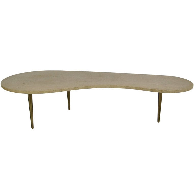 Freeform Travertine Coffee Table With Brass Legs At 1stdibs