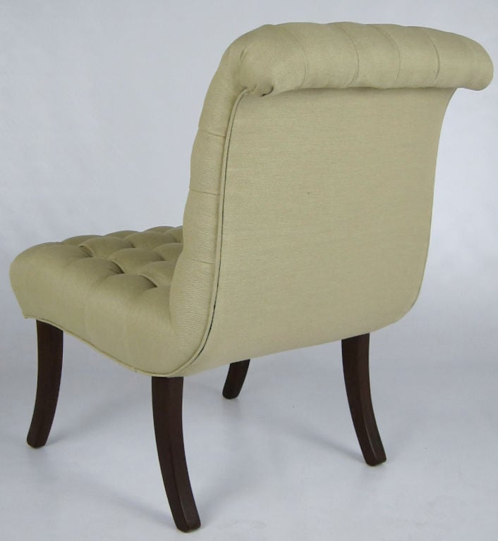 Pair of tufted scroll back lounge chairs at 1stdibs