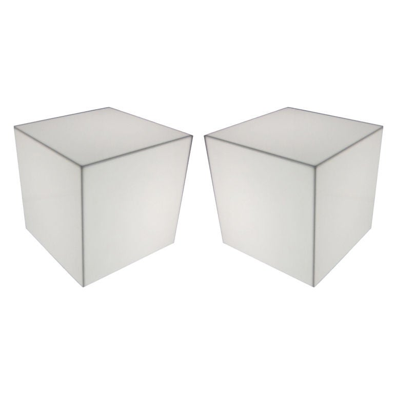Bon Pair Of Interior Lit Acrylic Cube Side Tables For Sale