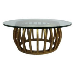 Gilt Wood Open Barrel form Coffee Table