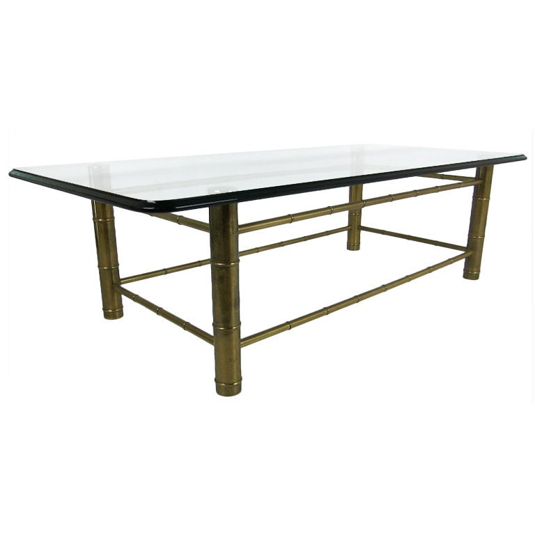 Brass Faux Bamboo Coffee Table By Mastercraft At 1stdibs