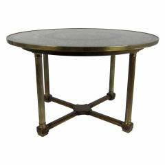 Brass Mounted Center or Dining Table with Verre Eglomise Top