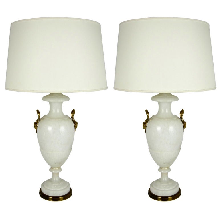 Large Scale Pair of Alabaster Urn Lamps by Marbro