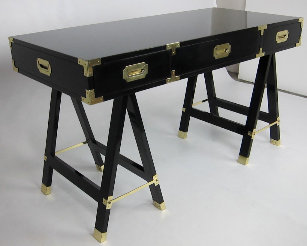 Polished Black Lacquer Campaign Desk with Brass Hardware image 2
