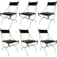 Set of Six Metal Regency Chairs with Bronze Swan Mounts