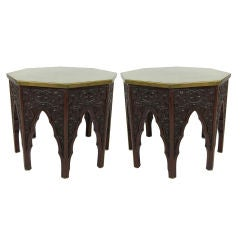 Pair of Fancifully Carved Moorish Tables with Brass Tops