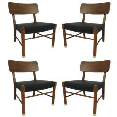 Four Danish Teak Lounge Chairs by Borge Mogensen