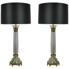 Exquisite Pair of Seguso Glass Column Lamps by Marbro
