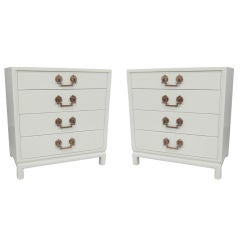 Pair of White Lacquer Bachelors Chests