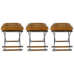 Set of Three Modernist Chrome & Oak Counter Stools