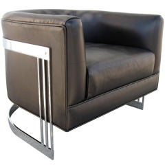 Nickel Framed Leather Barrel Chair in the style of Milo Baughman