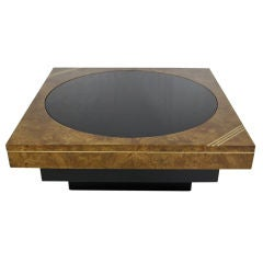 70's Burl & Brass Cocktail Table