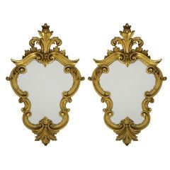 Pair of Carved & Gilt Wood Mirrors-Italy
