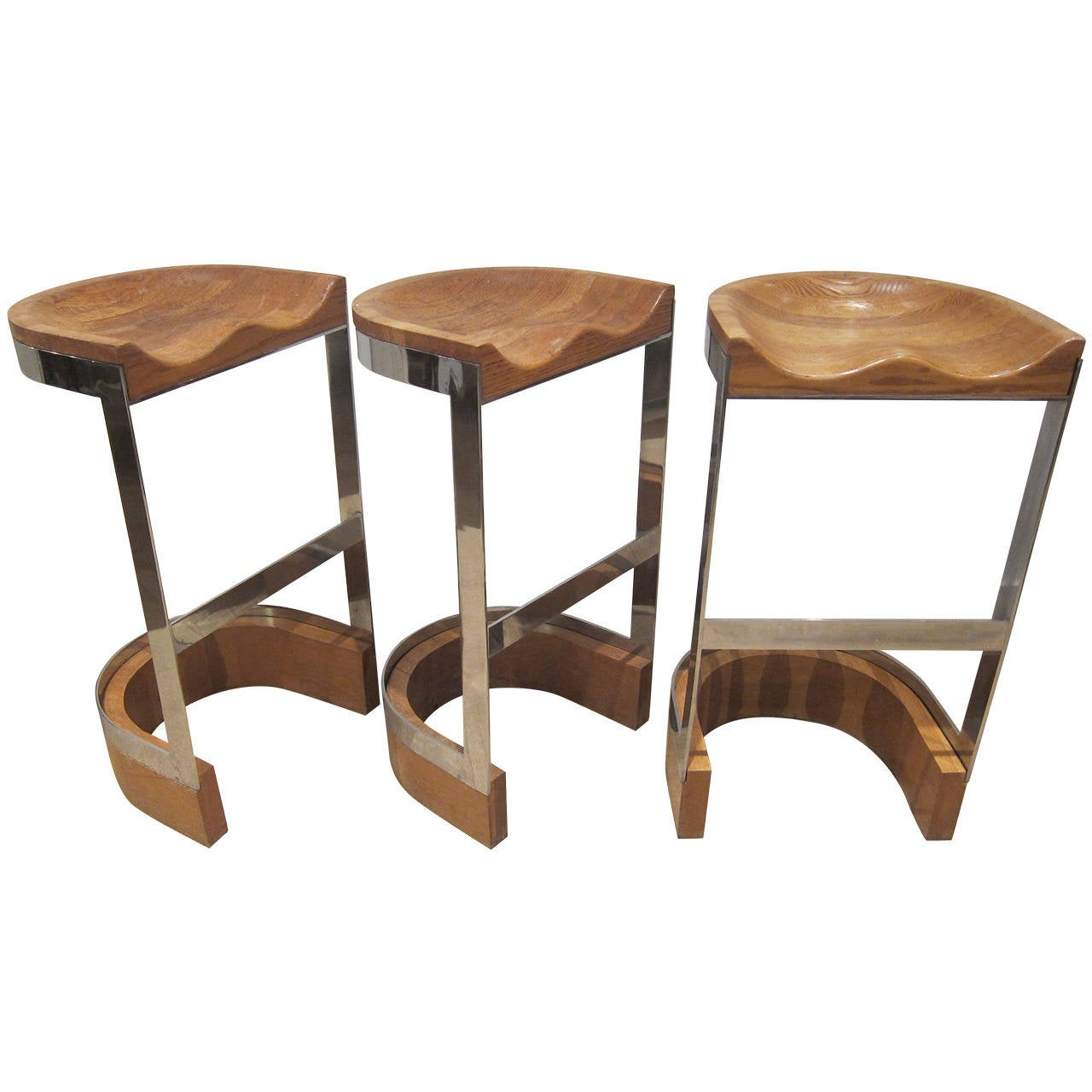 Set Of Three Bar Stools By Warren Bacon Usa 1970s At 1stdibs