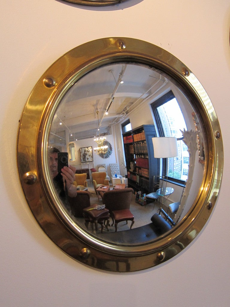Group Of Brass Porthole Convex Mirrors 3