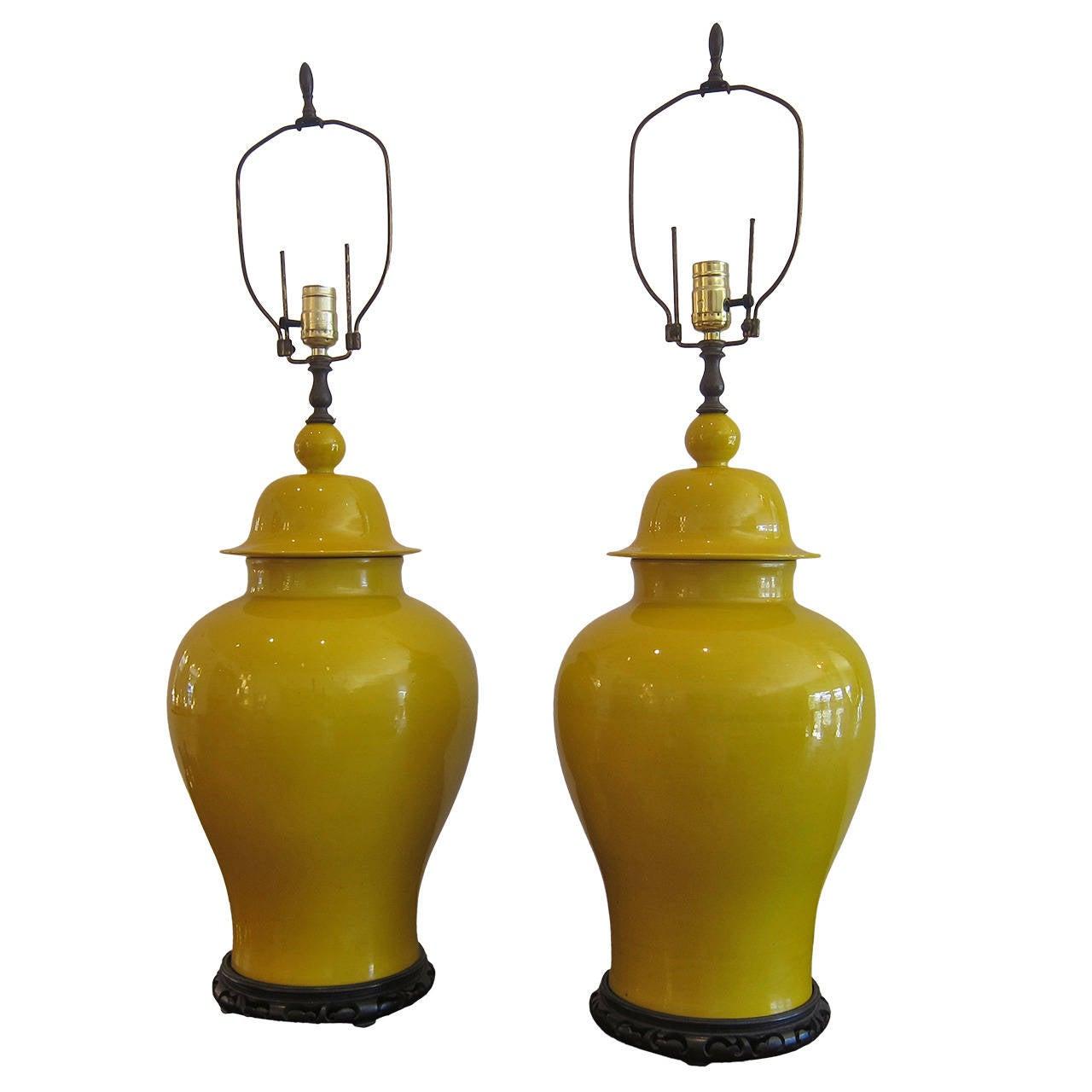 Mid century ginger jar lamp pair at 1stdibs - Pair Of Ginger Jar Ceramic Lamps At 1stdibs