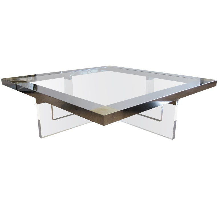 Large Lucite Chrome And Brass Coffee Table At 1stdibs