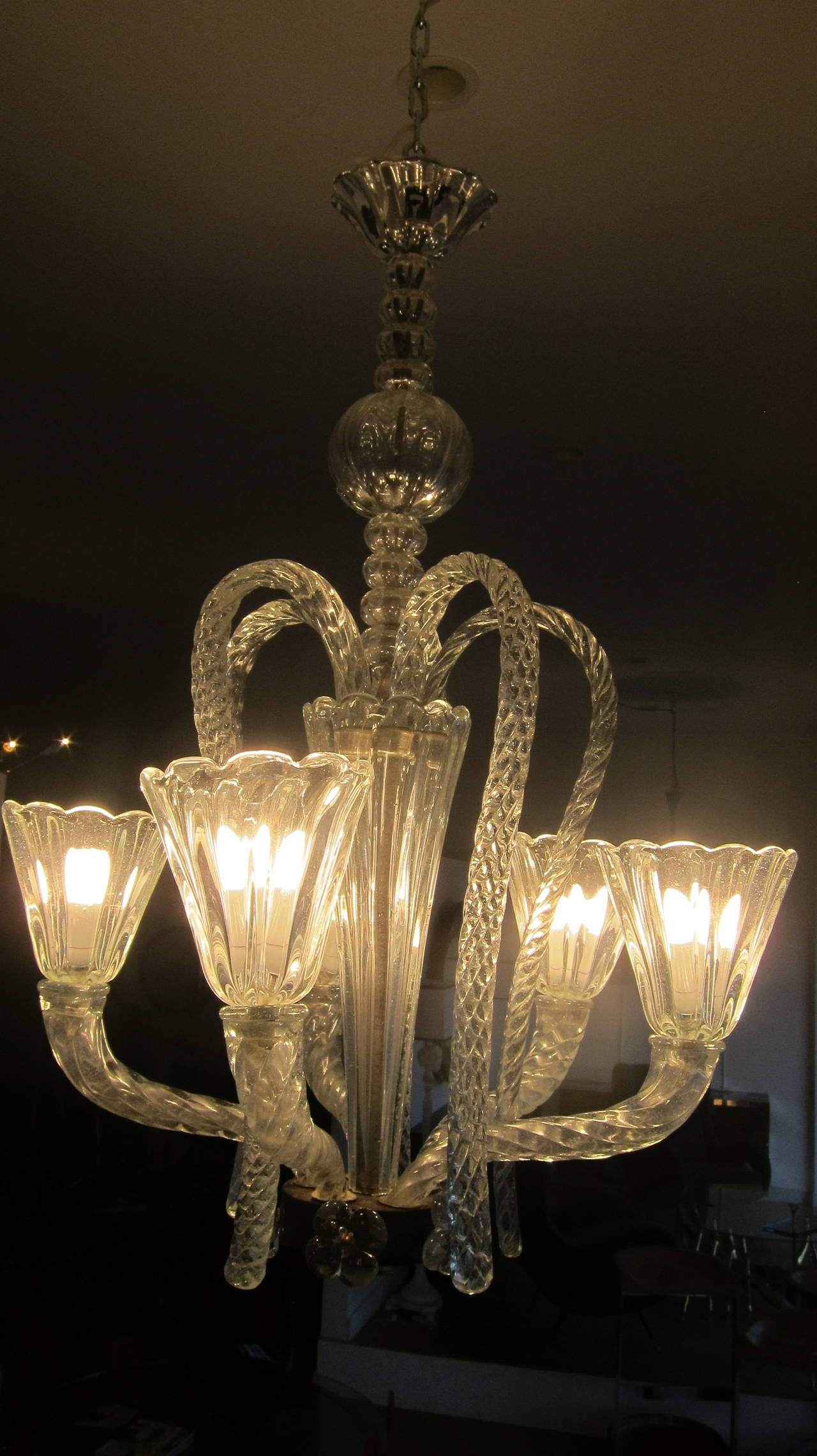 Murano glass chandelier by barovier e toso at 1stdibs for Barovier e toso