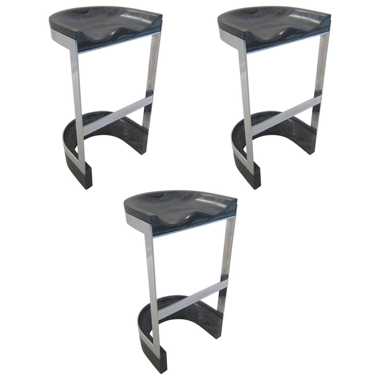 Set Of Three Bar Stools Usa 1970s At 1stdibs