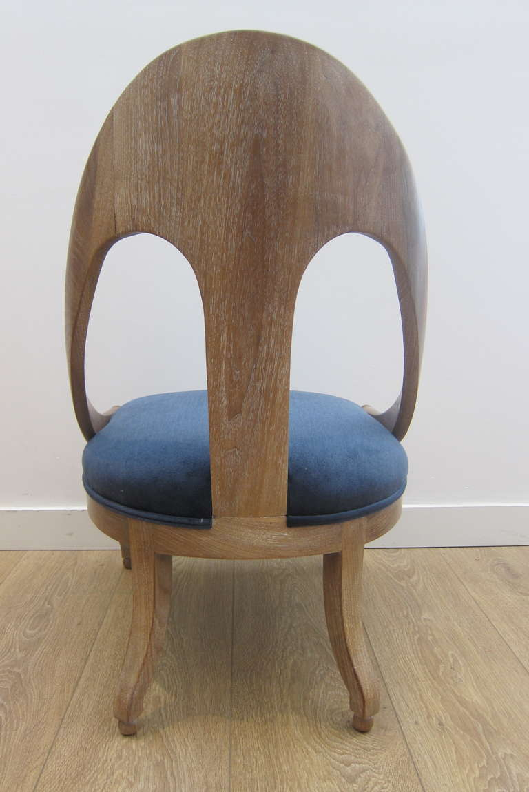 Single Cerused Oak Spoon Back Chair. In Excellent Condition For Sale In Miami, FL