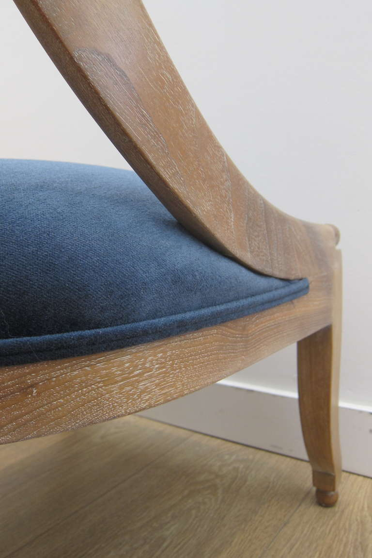 Mid-20th Century Single Cerused Oak Spoon Back Chair. For Sale