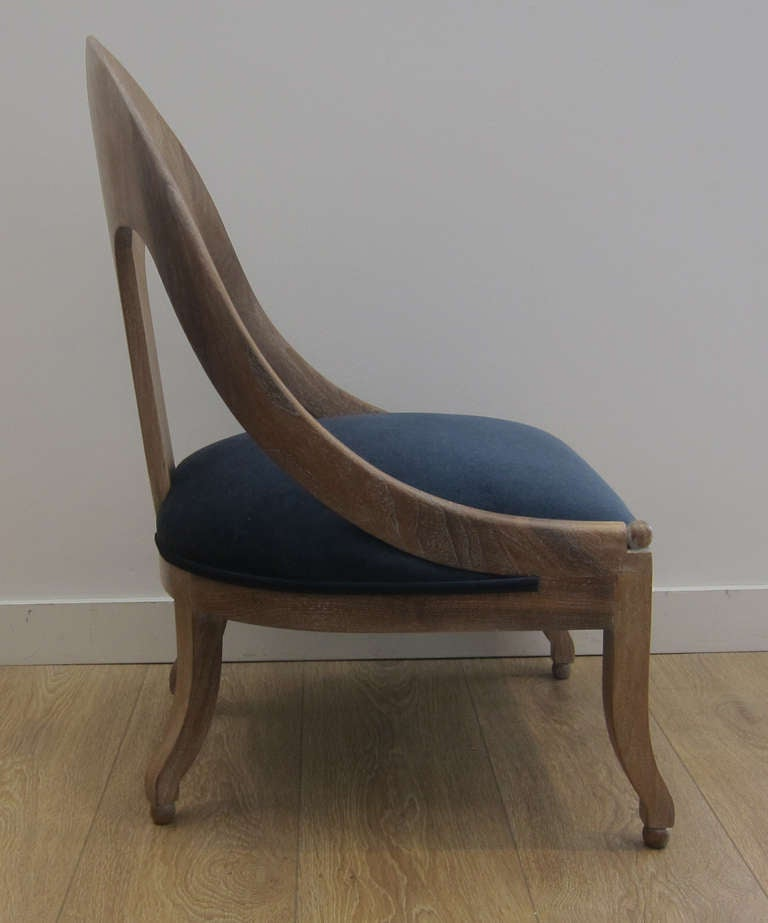 American Single Cerused Oak Spoon Back Chair. For Sale