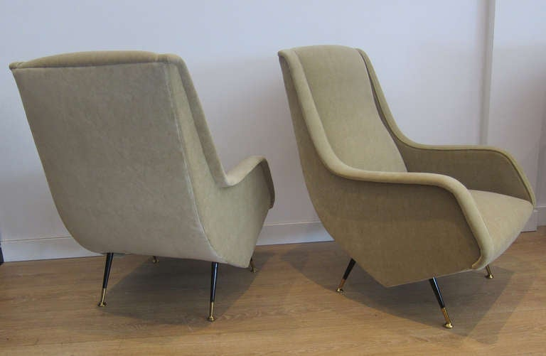 Very Rare Pair Of Lounge Chairs By Aldo Morbelli, Italy, 1950s At 1stdibs