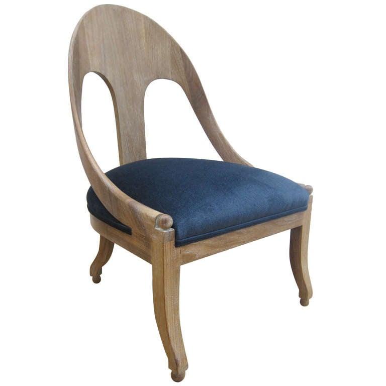 Single Cerused Oak Spoon Back Chair. For Sale