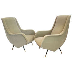 Very Rare Pair of Lounge Chairs by Aldo Morbelli, Italy, 1950s