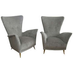 Pair of Petite Italian 1950 Lounge Chairs.