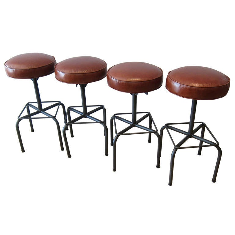 Four Industrial Bar Stools At 1stdibs