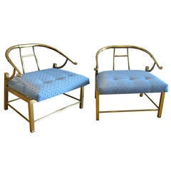 Pair of Brass Chairs by Mastercraft.