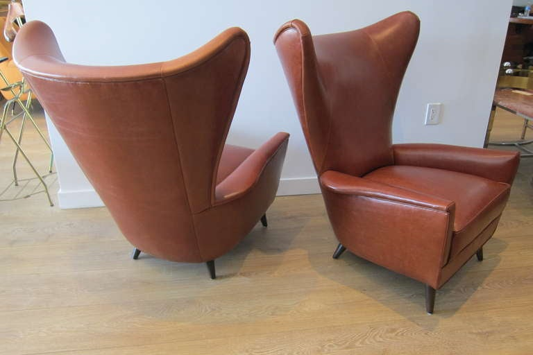 Pair Of 1950 S Italian Wing Back Lounge Chairs At 1stdibs