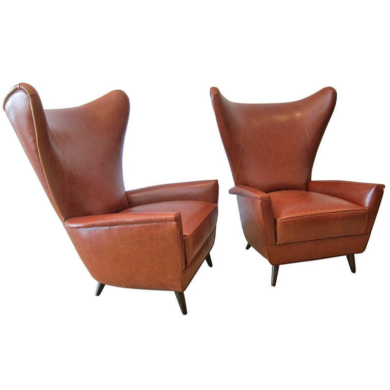 Pair Of 1950 39 S Italian Wing Back Lounge Chairs At 1stdibs