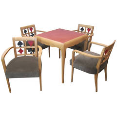 Game Table with Chairs, Jules Leleu Style