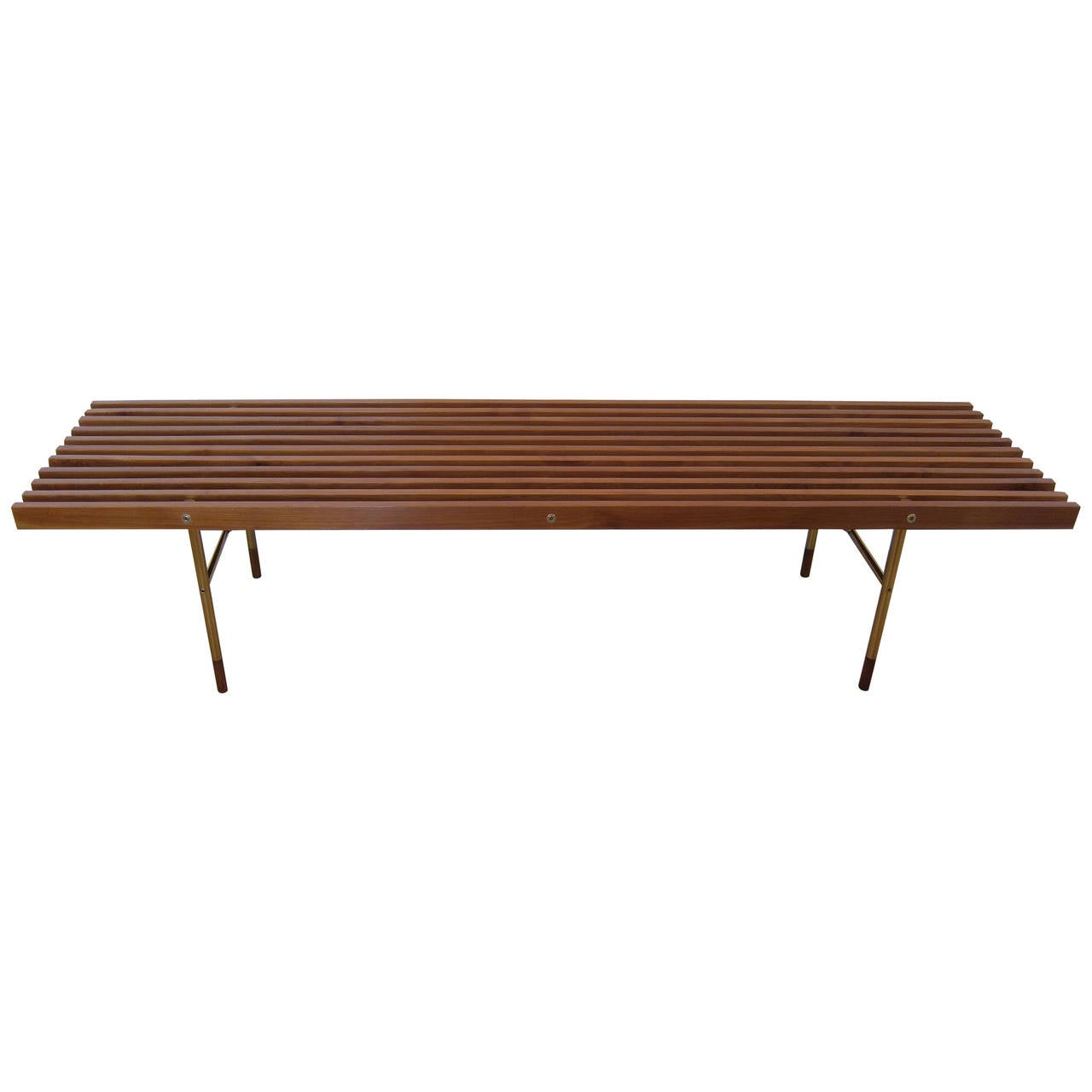 Wood And Brass Slat Bench At 1stdibs